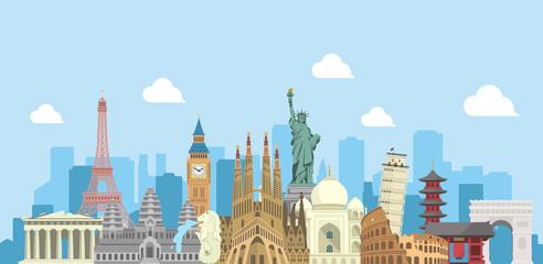 Foto auf Leinwand Licht blau world travel vector banner illustration ( world famous buildings / world heritage )