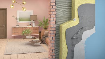 Obraz Wall thermal insulation in interior, 3d illustration - fototapety do salonu