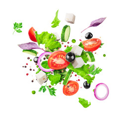 Fototapeta Salad ingredients are flying isolated on a white background. Healthy nutrition