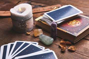 Fortune-telling tarot cards and magic accessories