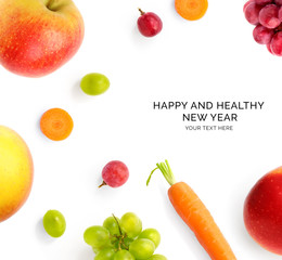 Creative happy and healthy new year card made of fruits on the white background.  Fruits happy new year, top view, festive greeting card.