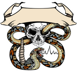 snake coiled round the human skull. Angry dangerous rattlesnake. Logo, banner, emblem with ribbon scroll. Tattoo or shirts design style vector illustration
