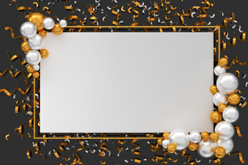 Paper table with gold and white balloon and golden confetti. 3D Render