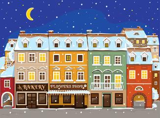 Good little winter night town. Vector Illustration
