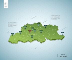 Stylized map of Belgium. Isometric 3D green map with cities, borders, capital Brussels, regions. Vector illustration. Editable layers clearly labeled. English language.