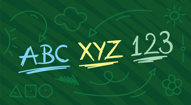 hand drawing abc, xyz, 123 concept. education symbols on green background