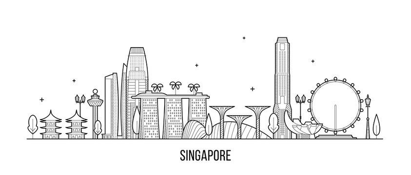 Singapore skyline city buildings vector inear art