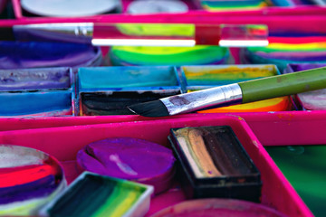 brush for face painting, purple green, pink, blue paint color