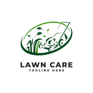 Lawn Mowing Logo Vector Icon Illustration, Lawn Care