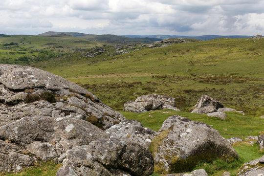 Looking over Dartmoor National Park from Haytor in Devon, UK