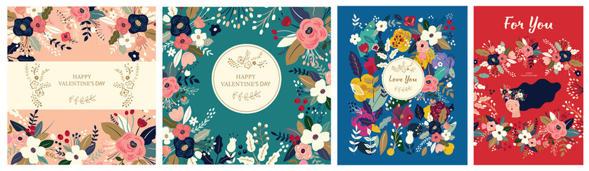Floral collection of cards, invitations, posters. Valentines Day greetings. Set of Valentines day cards. Vector illustration of girl in love. Flyer, card, banner, brochure Fototapete