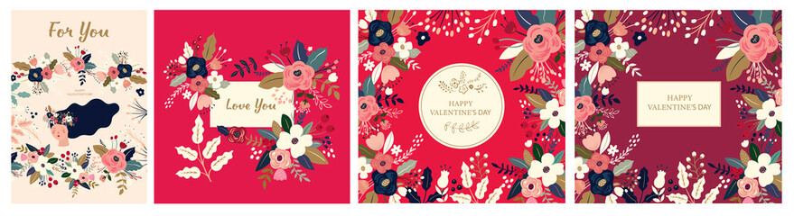 Fototapete - Floral collection of cards, invitations, posters. Valentines Day greetings. Set of Valentines day cards. Vector illustration of girl in love. Flyer, card, banner, brochure