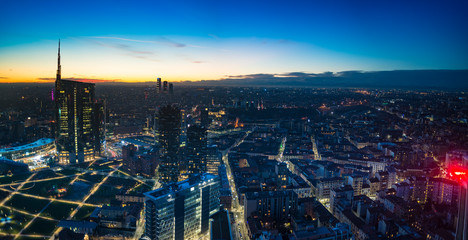 Keuken foto achterwand Milan Milan (Italy) night aerial view. Panoramic view from the Lombardy Region building.