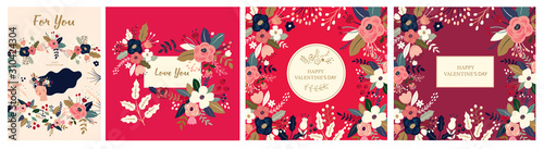 Fototapete Floral collection of cards, invitations, posters. Valentines Day greetings. Set of Valentines day cards. Vector illustration of girl in love. Flyer, card, banner, brochure