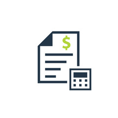 Cost estimate bill icon. Clipart image isolated on white background