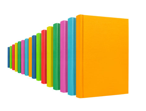Books standing in perspective in a row. Template for designers.