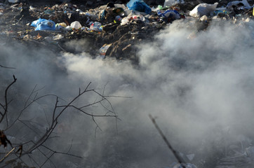 Foto op Canvas Donkergrijs Nature near Ukrainian capital. Trash burning. Air pollution. Environmental contamination. Illegal junk dump. Near Kiev, Ukraine