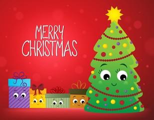 Deurstickers Voor kinderen Merry Christmas composition image 2