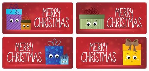Deurstickers Voor kinderen Merry Christmas theme cards 3