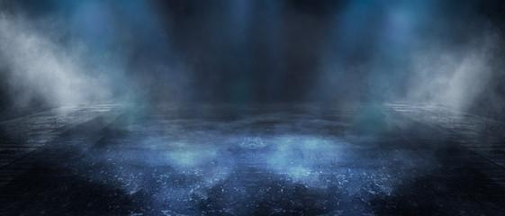 Texture of dark concrete floor with fog or fog. Dark street, neon light. Fotobehang