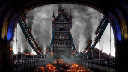 Poster London Tower Bridge London Burning