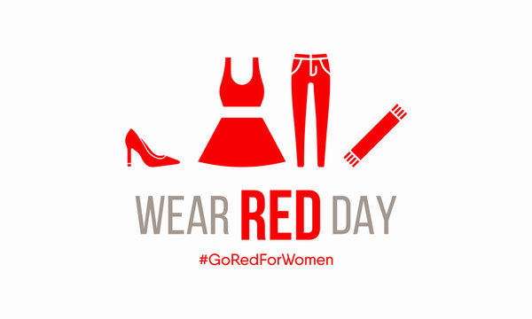 Vector illustration on the theme of National Wear Red day on February 7th.