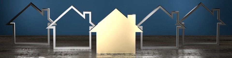House shape - real estate concept - 3D rendering