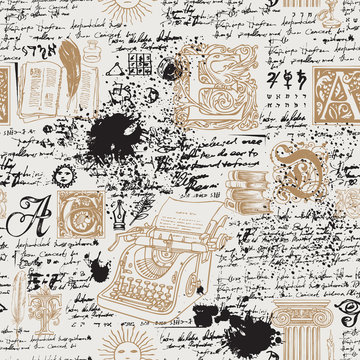 Vector seamless pattern on a writers theme. Abstract background with hand-drawn typewriter, books, capital letters and illegible handwritten notes. Suitable for wallpaper, wrapping paper or fabric