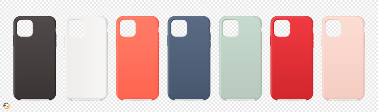 Realistic cases for smartphone on transparent background. Vector illustration EPS10.