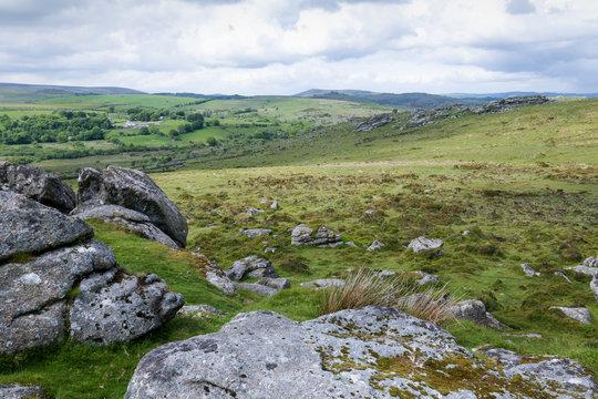 Dartmoor National Park from Haytor Rocks in Devon, UK.