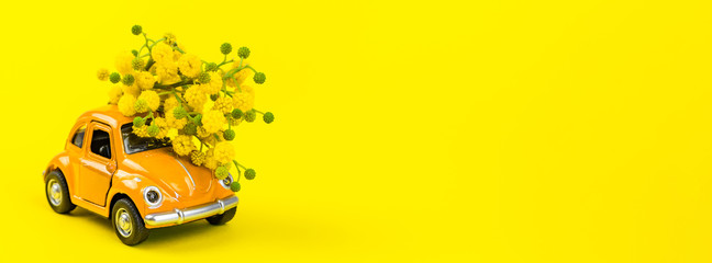 Car toy model delivering bouquet of mimosa flowers