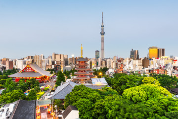 Fotomurales - Tokyo, Japan skyline in Asakusa