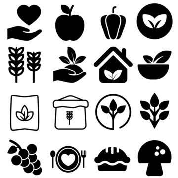 organic food vector icon set. Collection of icons of healthy. diet illustration sign or logo.