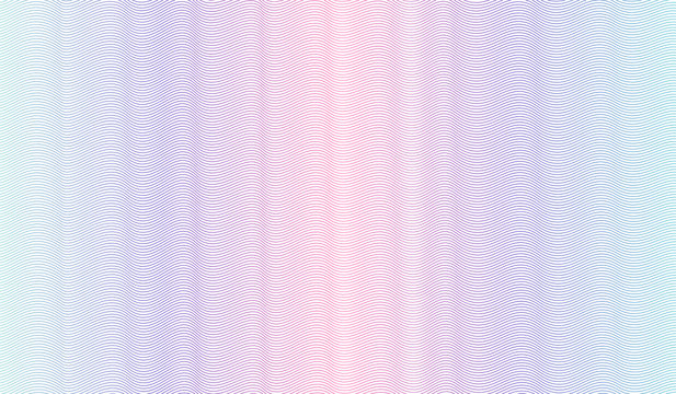 Pink, blue, teal watermark pattern. Line art design. Zigzag curves. Vector abstract background. Multicolored gradient. Guilloche pattern for passport, banknote protection, cheque. EPS10 illustration
