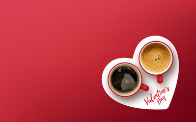 Papiers peints Cafe happy valentine's day concept. cup of coffee on red background
