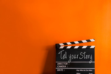 tell your story- text title on film slate