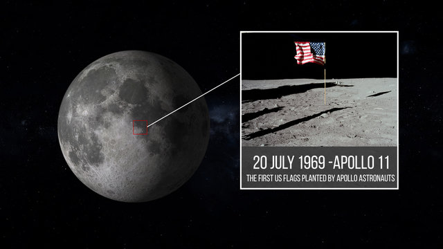 UNITED STATES FLAG ON THE MOON, first flag erected on the lunar surface during the Apollo  11, 20 JULY 1969, illustration elements of this image furnished by NASA