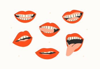 Female mouths. Teeth, tongue. Red lips. Various mimic, emotions, facial expressions. Hand drawn colored set. Trendy vector illustration. All elements are isolated