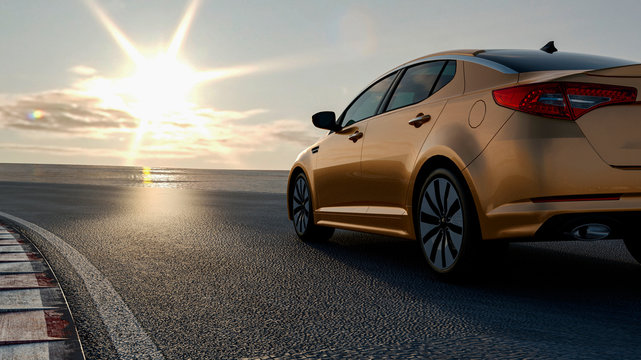 3d car sedan rides on the road to meet the sun, concept 3d render for advertising auto products