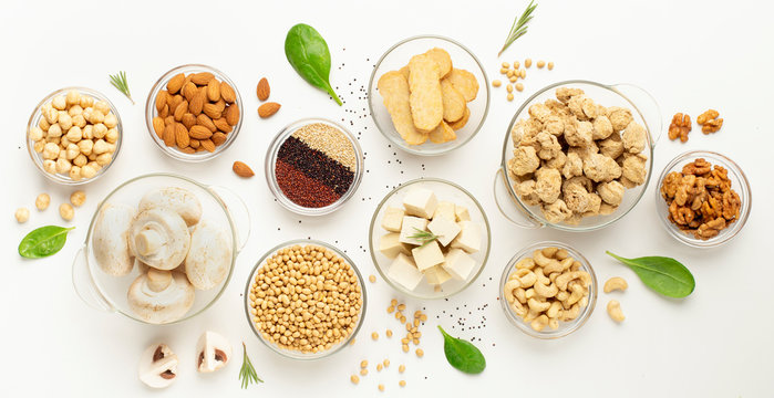 Assortment of soy products, nuts, superfoods and mushrooms