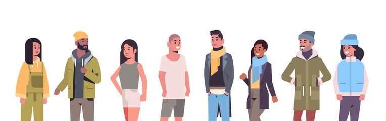 people in casual clothes standing together mix race guys and girls wearing seasonal clothes flat portrait horizontal vector illustration