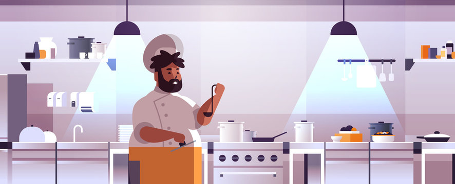 male professional chef cook preparing and tasting dishes african american man in uniform near stove cooking food concept modern restaurant kitchen interior flat portrait horizontal vector illustration