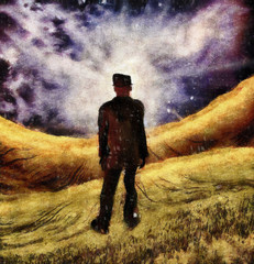 Surreal painting. Man in suit stands in field