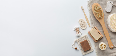 Handmade cosmetics and eco accessories on white