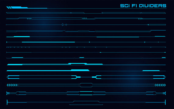 Set of Sci Fi Modern User Interface Elements. Futuristic Abstract HUD. Good for game UI. Divider elements for data infographics. Vector Illustration EPS10