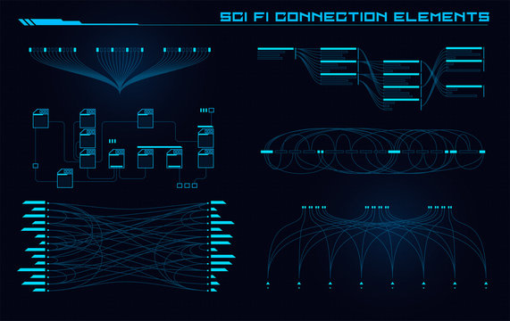 Set of Sci Fi Modern User Interface Elements. Futuristic Abstract HUD. Good for game UI. Connection elements for data infographics. Vector Illustration EPS10