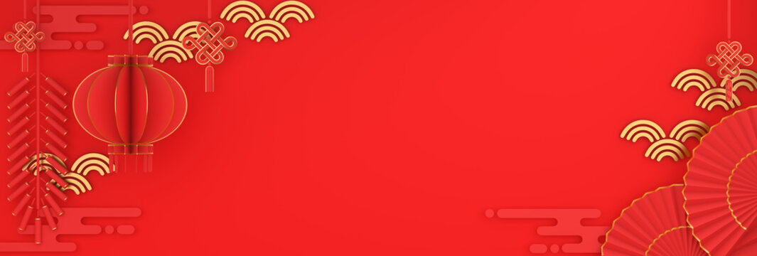 Happy Chinese new year banner, red and gold lantern and knot firecracker hand fan paper cut on background. Design creative concept of china festival celebration gong xi fa cai. 3D illustration.