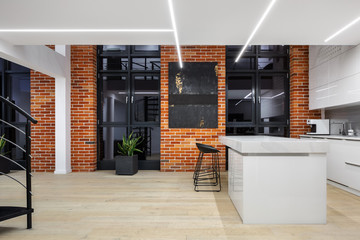 Loft apartment with led ceiling light
