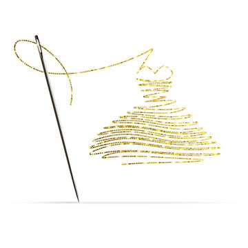 Needle with Gold Thread in the Form of a Cocktail Dress