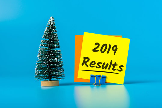 2019 Results - Review of 2019 year message on blue background